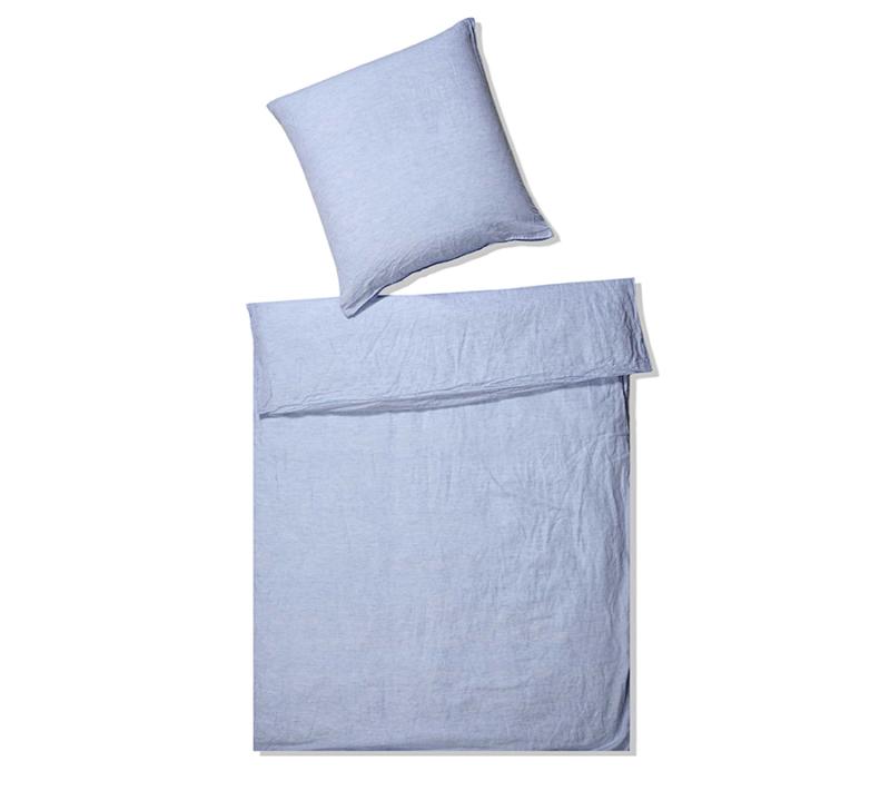 Elegante hør sengetøj lyseblå