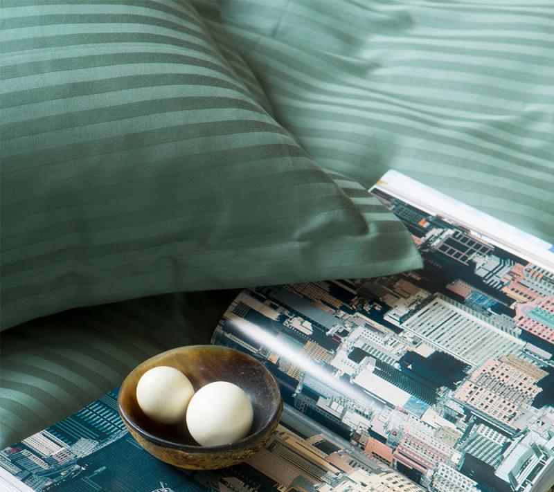 Borås cotten Harmony sengetøj smoke green miljøbillede