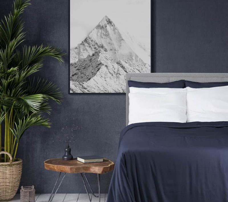Wonder living bambus sengetøj navy miljøbillede